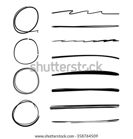 circle brush line, underline, highlighter set, highlighter vector, highlighter symbol