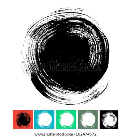 Circle brush stroke isolated on white background