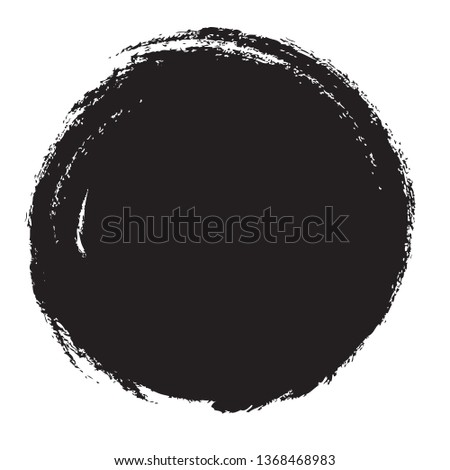 Circle brush stroke vector isolated on white background. Black circle brush stroke. For stamp, seal, ink and paintbrush design template. Round grunge hand drawn circle shape, vector illustration #1368468983