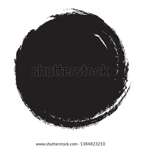 Circle brush stroke vector isolated on white background. Black circle brush stroke. For stamp, seal, ink and paintbrush design template. Round grunge hand drawn circle shape, vector illustration #1384823210