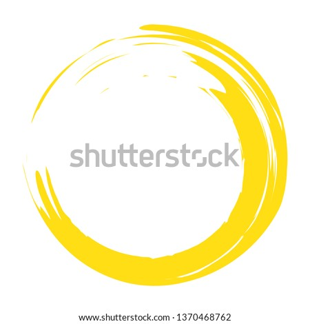 Circle brush stroke vector isolated on white background. Yellow enso zen circle brush stroke.For stamp,seal, ink and paintbrush design template. Sun grunge hand drawn circle shape, vector illustration