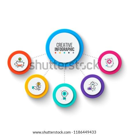 Circle business graphic elements. Business process infographics with 5 steps, parts or options. Abstract presentation template. Modern vector infochart layout design.