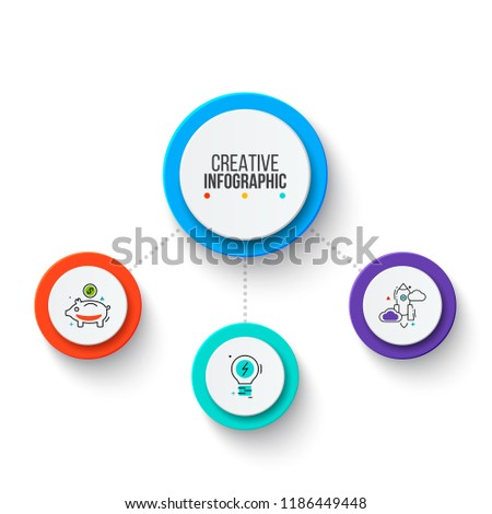 Circle business graphic elements. Business process infographics with 3 steps, parts or options. Abstract presentation template. Modern vector infochart layout design.