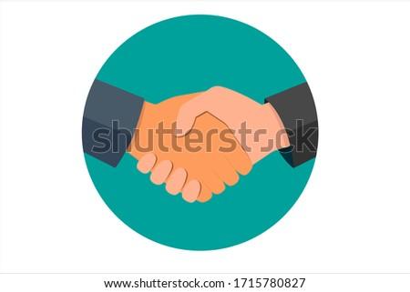 Circle business handshake icon. Handshake of business partners. Business handshake.