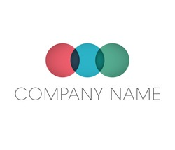 Circle business logo with company name placeholder text. Geometric vector logotype design elements.