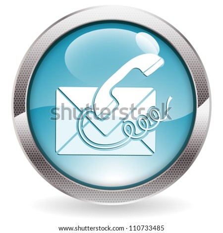 Circle Button with Telephone and Envelope Icon Contact Us, vector illustration