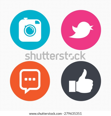 Circle buttons. Hipster photo camera icon. Like and Chat speech bubble sign. Hand thumb up. Bird symbol. Seamless squares texture. Vector #279635351