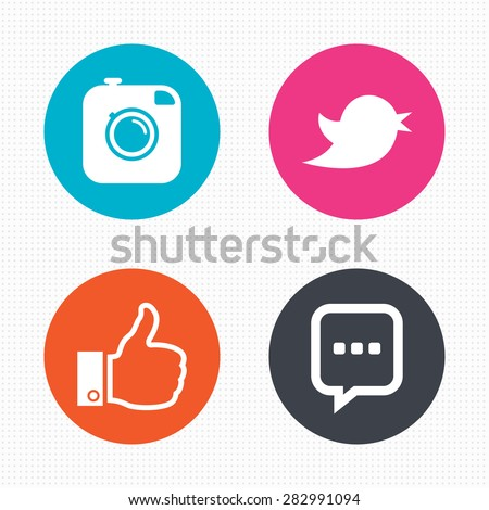 Circle buttons. Hipster photo camera icon. Like and Chat speech bubble sign. Hand thumb up. Bird symbol. Seamless squares texture. Vector #282991094