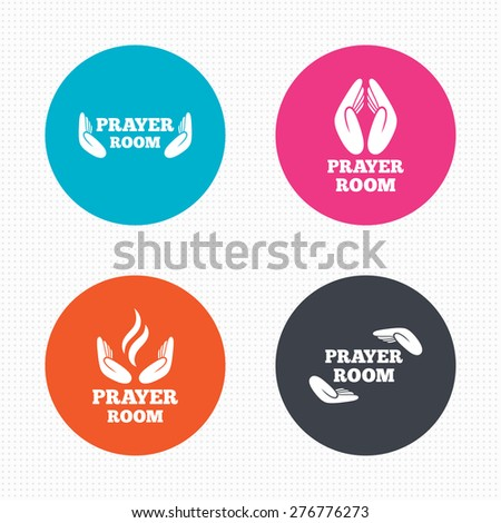 Circle buttons. Prayer room icons. Religion priest faith symbols. Pray with hands. Seamless squares texture. Vector