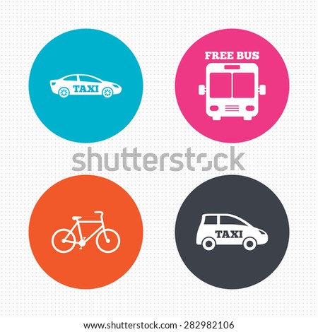 Circle buttons. Public transport icons. Free bus, bicycle and taxi signs. Car transport symbol. Seamless squares texture. Vector