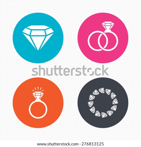 Circle buttons. Rings icons. Jewelry with shine diamond signs. Wedding or engagement symbols. Seamless squares texture. Vector
