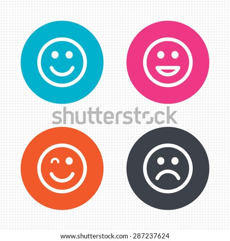 circle buttons smile icons