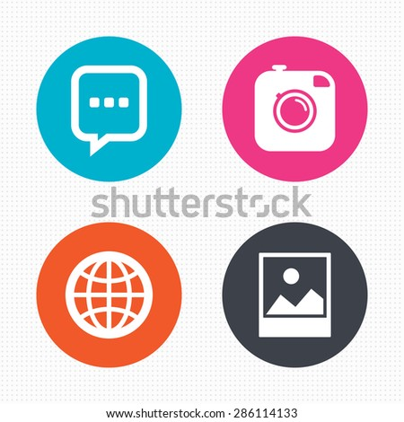 Circle buttons. Social media icons. Chat speech bubble and world globe symbols. Hipster photo camera sign. Landscape photo frame. Seamless squares texture. Vector