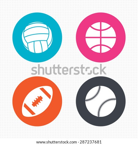 Circle buttons. Sport balls icons. Volleyball, Basketball, Baseball and American football signs. Team sport games. Seamless squares texture. Vector