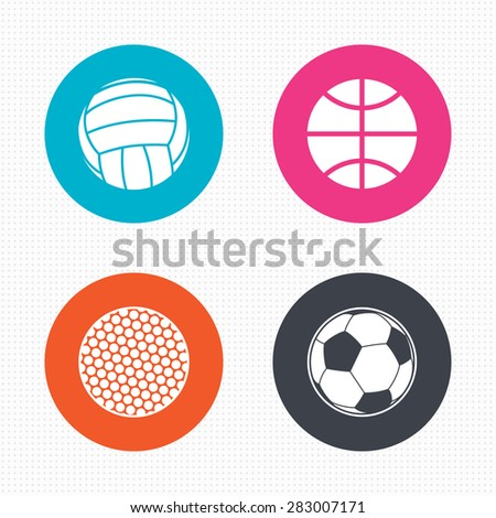 Circle buttons. Sport balls icons. Volleyball, Basketball, Soccer and Golf signs. Team sport games. Seamless squares texture. Vector