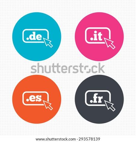 Circle buttons. Top-level internet domain icons. De, It, Es and Fr symbols with cursor pointer. Unique national DNS names. Seamless squares texture. Vector