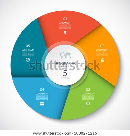 Circle chart for infographics. Vector diagram with 5 options. Can be used for graph, presentation, report, step options, web design.
