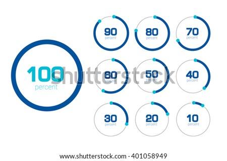 Circle chart, graph. Flat design. Percentage templates set. Infographics elements.