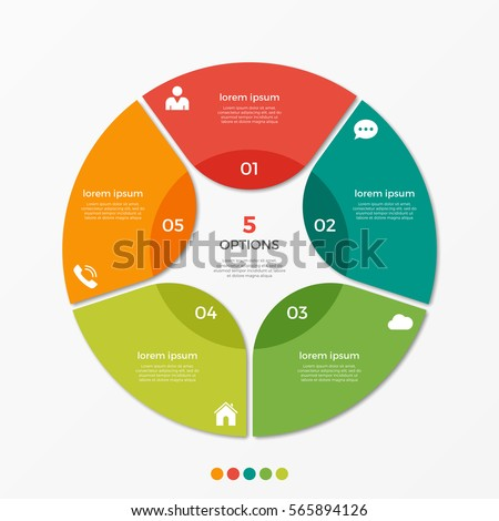 Circle chart infographic template with 5 options  for presentations, advertising, layouts, annual reports.