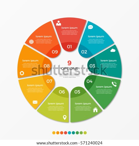 Shutterstock Circle chart infographic template with 9 options  for presentations, advertising, layouts, annual reports