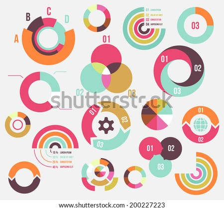 Circle charts and diagrams templates collection for business