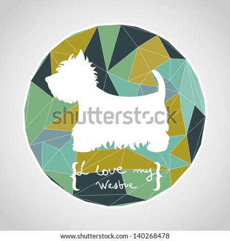 Circle composition made of geometric shapes. Label design. West highland terrier. Dog silhouette. Vector illustration.