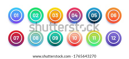 Circle 3d icon set with number bullet point from 1 to 12. Trendy gradient colors ストックフォト ©