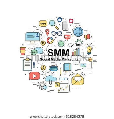 Circle design element with different SMM icons - Social Media Marketing. SEO, SMO, Webdesign, copyrighting. Can be use like background for advertising agency. Also perfect for SMM course or school.