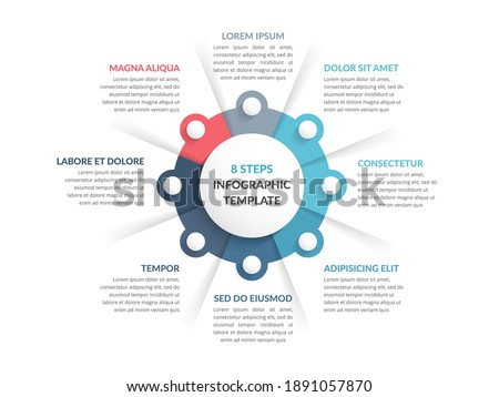 Circle diagram template with eight steps or options, infographic template for web, business, presentations, vector eps10 illustration Photo stock ©