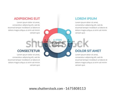 Circle diagram template with four steps or options, infographic template for web, business, presentations, vector eps10 illustration