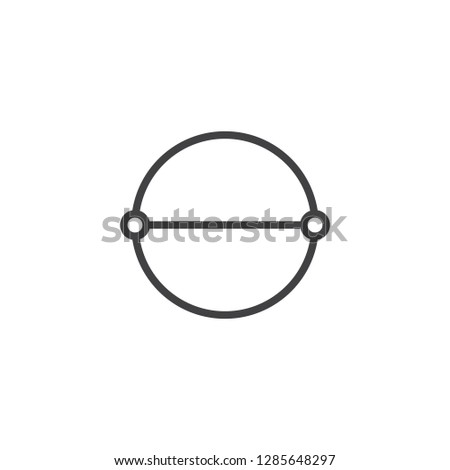 Circle diameter line icon. linear style sign for mobile concept and web design. Diameter measure outline vector icon. Symbol, logo illustration. Pixel perfect vector graphics