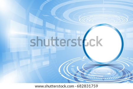 circle empty sign on blue abstract technology background