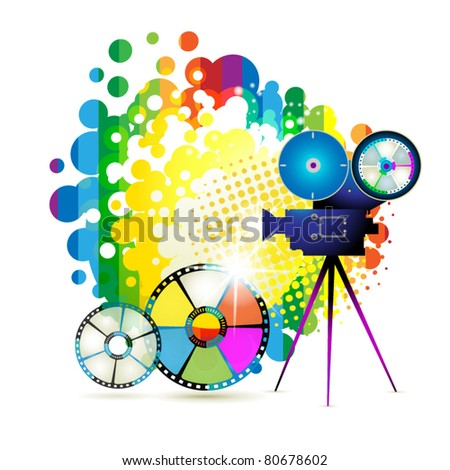 Circle film frames with camera over colorful background