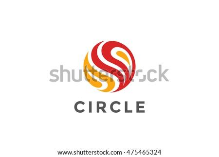 Circle Fire flame abstract Logo design vector template. Sphere Logotype concept icon