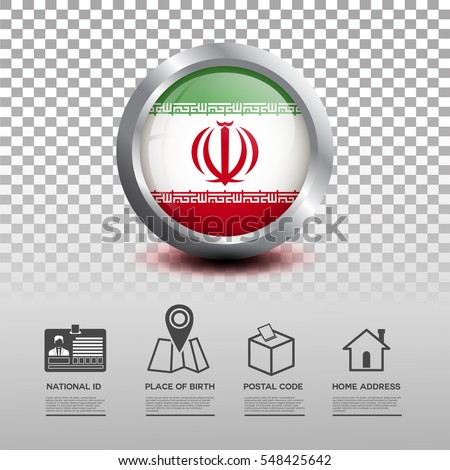 circle flag of iran in glossy