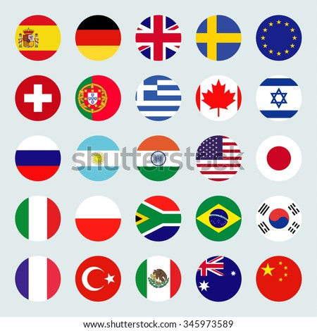 circle flags vector of the