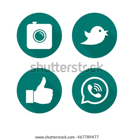 Circle flat icons with long shadows. Vector set of icons for web and mobile including camera, bird, like thumb and talk phone icons. #467789477