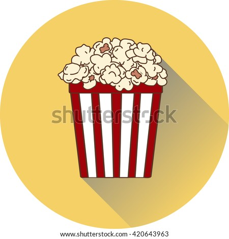 circle flat popcorn cup icon