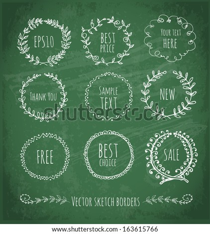 Circle floral borders. Sketch frames, hand-drawn on green chalckboard Vector illustration.