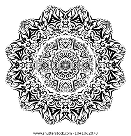 Circle floral ornament. Flower mandala. Vector illustration, black and white color