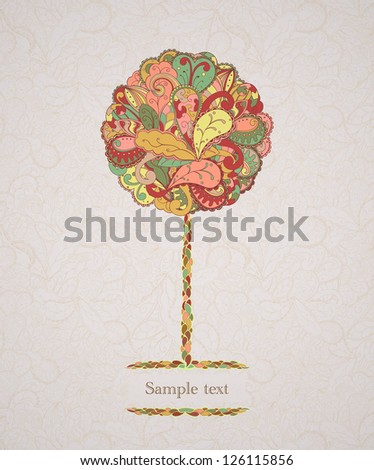 Circle floral tree. Eps 10 vector image.