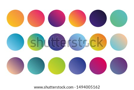 Circle gradient holographic sphere button. Vector rounded vibrant abstract multicolor neon, purple, blue palette gradients, round buttons flat vivid color spheres set