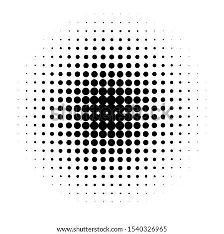 Circle halftone pattern / texture. Monochrome halftone dots.Halftone dots in circle.