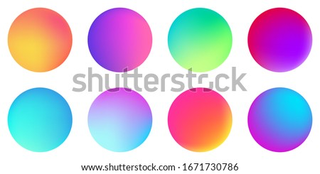 Circle holographic gradients set, spherical buttons. Multicolor neon hologram fluid color circle gradients, soft round buttons, vivid blurred spheres flat set for web icons, labels, signs.