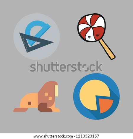 circle icon set. vector set about protractor, pie chart, walrus and lollipop icons set.