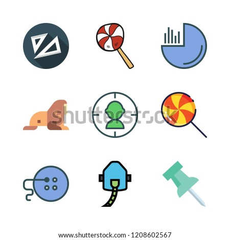 circle icon set. vector set about set square, pie chart, target and lollipop icons set.