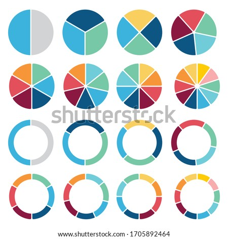 Circle icons for infographic. Colorful diagram collection with  2,3,4,5,6,7,8,9 sections and steps. Pie chart for data analysis, business presentation, UI, web design. Vector illustration. isolated on