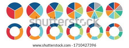 Circle icons for infographic. Colorful diagram collection with  ,3,4,5,6,7,8 sections and steps. Pie chart for data analysis, business presentation, UI, web design. Vector illustration.
