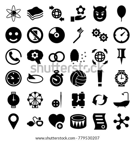 Circle icons. set of 36 editable filled circle icons such as call, pin, smile, engagement ring, ferris wheel, honeycomb, atom, gear, atom in hand, qround the globe