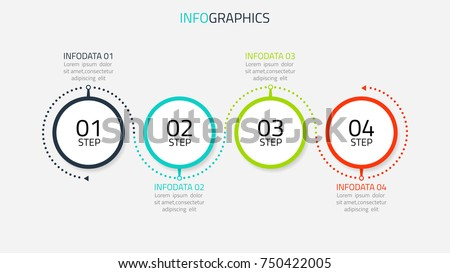 Circle infographic number options. Timeline design with lines can be used for workflow layout, diagram, presentation, web design. Business concept with 4 options, steps or processes. ストックフォト ©